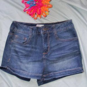 size 5 blue distressed jean shorts womens short